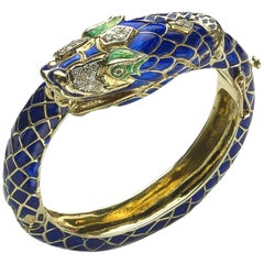 Enamel Diamond Gold Snake Bangle Bracelet