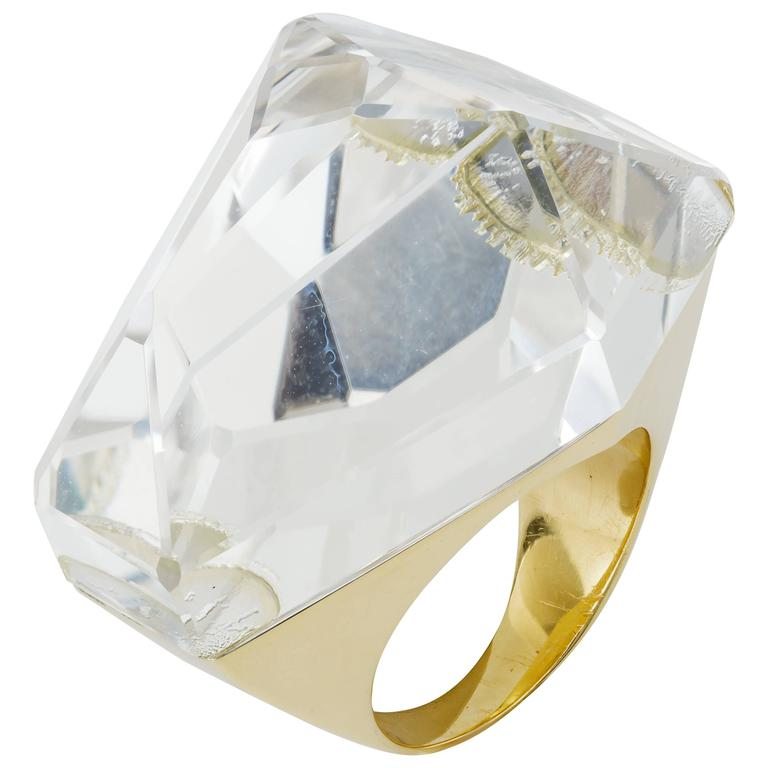 H. Stern Large 54.46 Carat Quartz Gold Ring