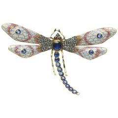 Enamel Sapphire Diamond Gold Dragonfly Brooch