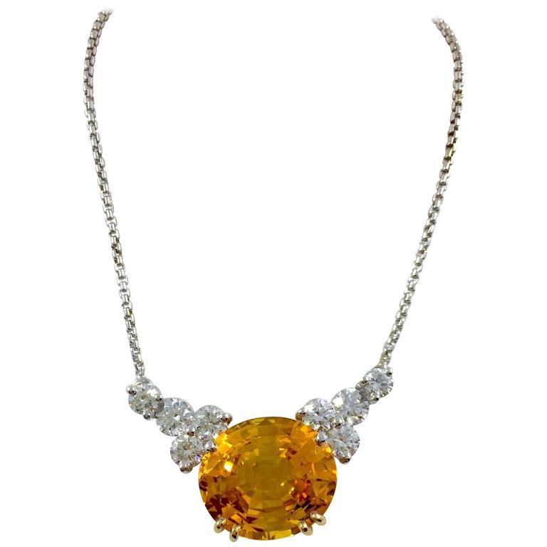 G. Minner 9.23 Carat Orange Ceylon Sapphire Diamond Gold Necklace