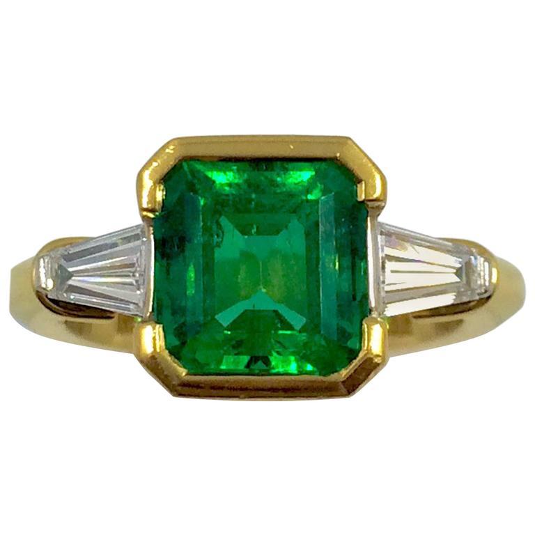 2.97 Carat Colombian Emerald Diamond Gold Ring