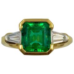 2.97 Carat Colombian Emerald Diamond Gold Ring