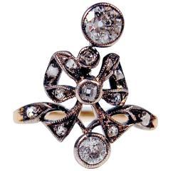 1900s Austria Art Nouveau .85 Carats Diamonds Silver Gold Ring