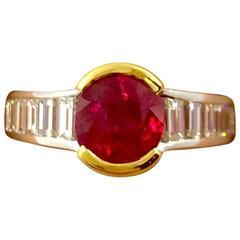 2.42 Carat Burma Ruby Diamond Two-Color Gold Ring