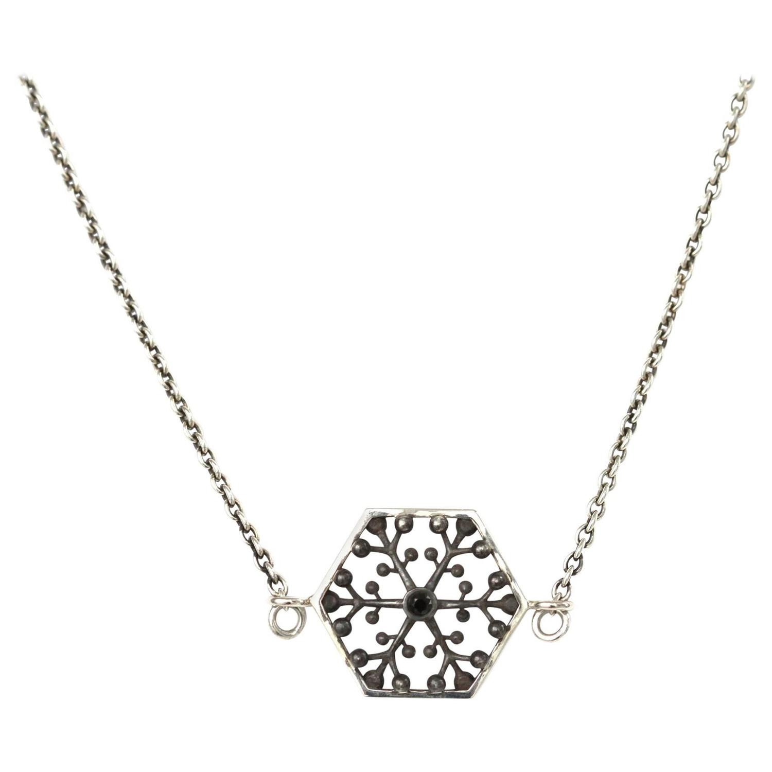 John Brevard Snowflakes Independence Silver Necklace MhedAqd3t