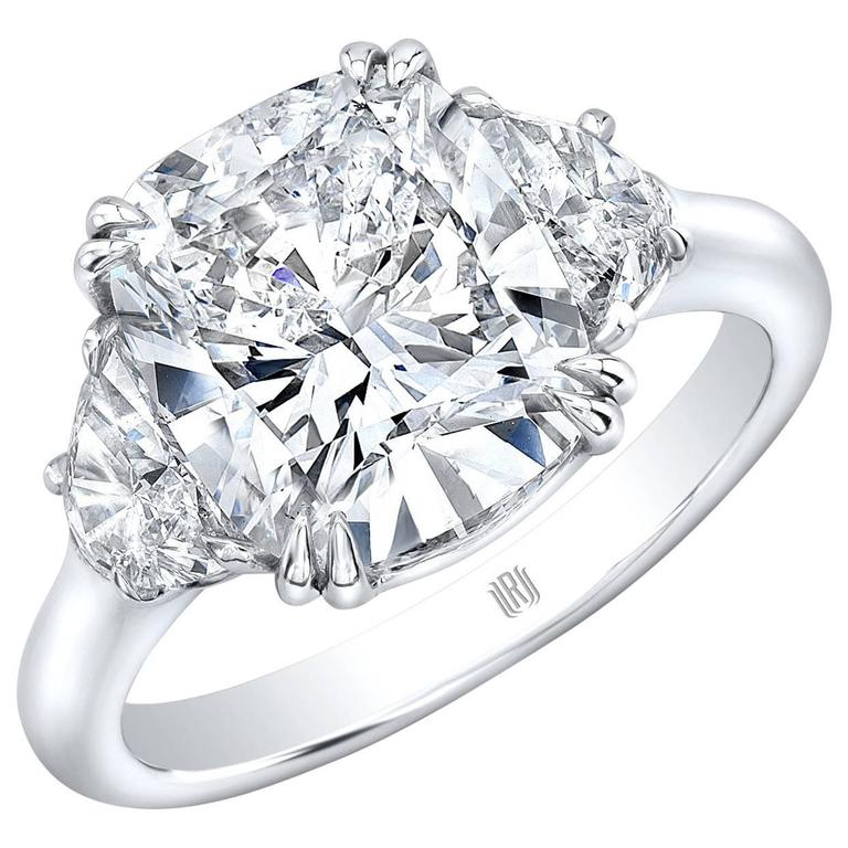 4 01 Carat GIA Cert G SI2 Cushion Cut Diamond Platinum Ring For Sale at 1stdibs