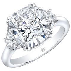 4.01 Carat GIA Certified G SI2 Cushion Cut Diamond Platinum Engagement Ring