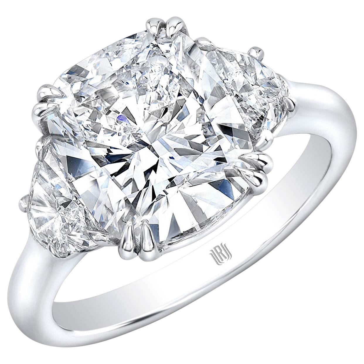 4 01 Carat GIA Cert G SI2 Cushion Cut Diamond Platinum Ring For Sale at 1stdibs