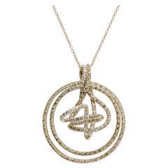 H. Stern Cognac and Colorless Diamond 18 Karat Gold Zephyr Pendant Necklace