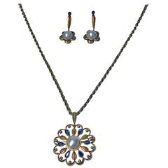 1950s David Andersen Rare Pearl Sapphire Gold Necklace Brooch and Earrings