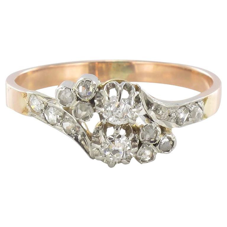 French Romantic Diamond Rose gold ring