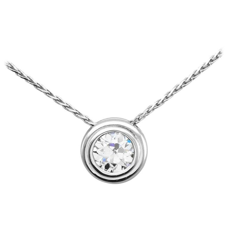 bezel set gold solitaire necklace for sale at 1stdibs