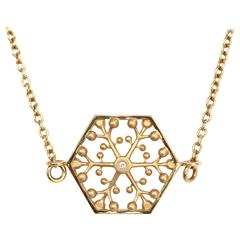 Snowflakes Independence Gold Necklace