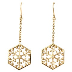 Snowflakes Independence 18K Gold Drop Earrings