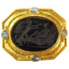 Elizabeth Locke Venetian Glass Moonstone Large Gold Pin Pendant