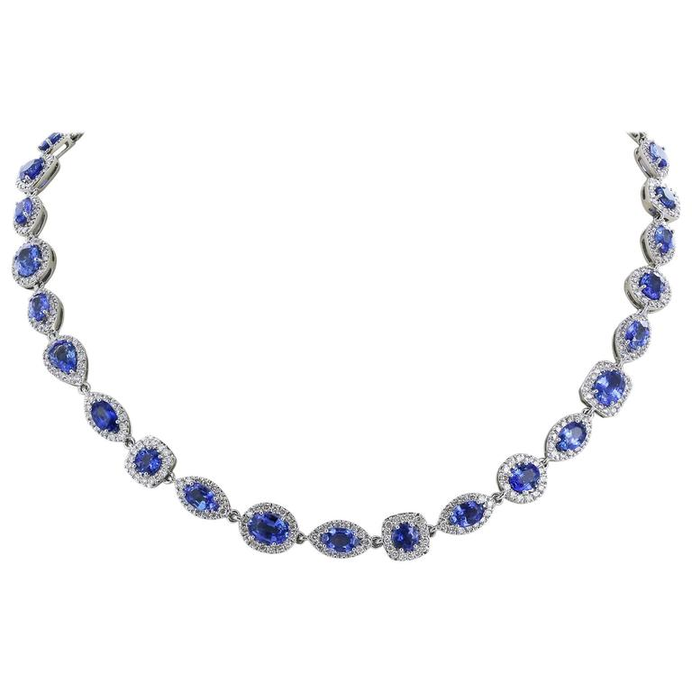 47.98 Carat Sapphire Diamond Opera Length Necklace and Bracelet For Sale