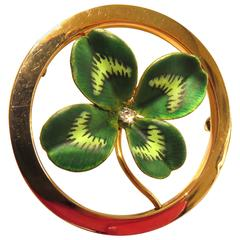 Krementz Large Enamel Four-Leaf Clover Diamond Center Gold Pin