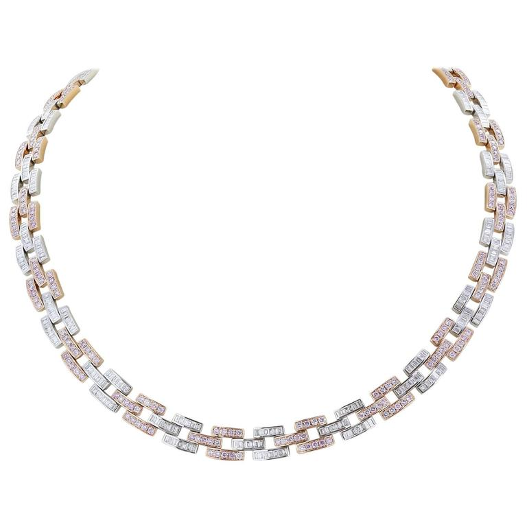 12.81 Carat Argyle Pink Diamond Panther Two-Color Gold Link Necklace