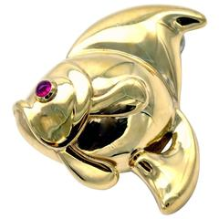 Ruby Gold Fish Brooch