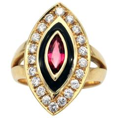 Ruby Diamond and Enamel Gold Marquise Ring
