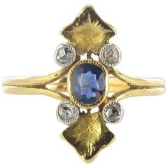 French Art Nouveau Sapphire and Diamond Ring
