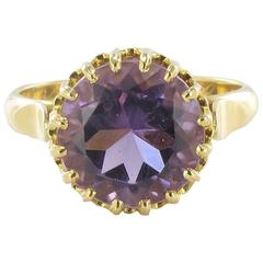 1900s Antique French Round Amethyst Gold Ring