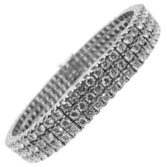 Berca 12.60Kt 174 White Diamond White Gold Setting One-of-a-Kind Tennis Bracelet
