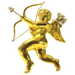 Mellerio French Cherub Gold Cupid Pin with Diamond Arrows