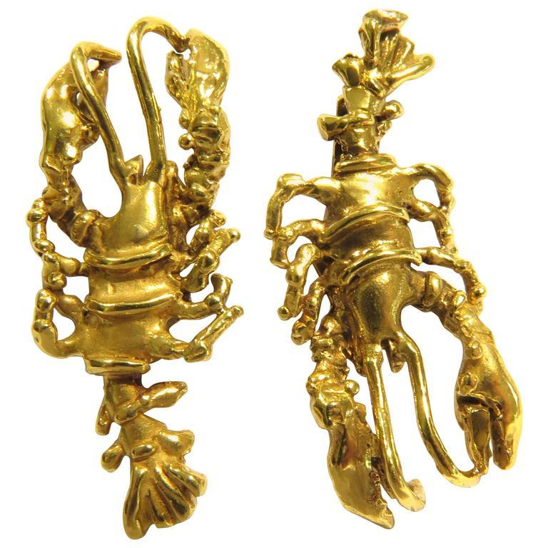B. Anton Large Gold Lobster Post Earrings