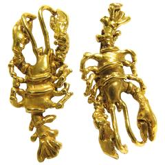 B. Anton Large Gold Lobster Post Earrings