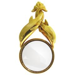 French Entwined Dolphins Magnifying Glass Gold Charm Pendant