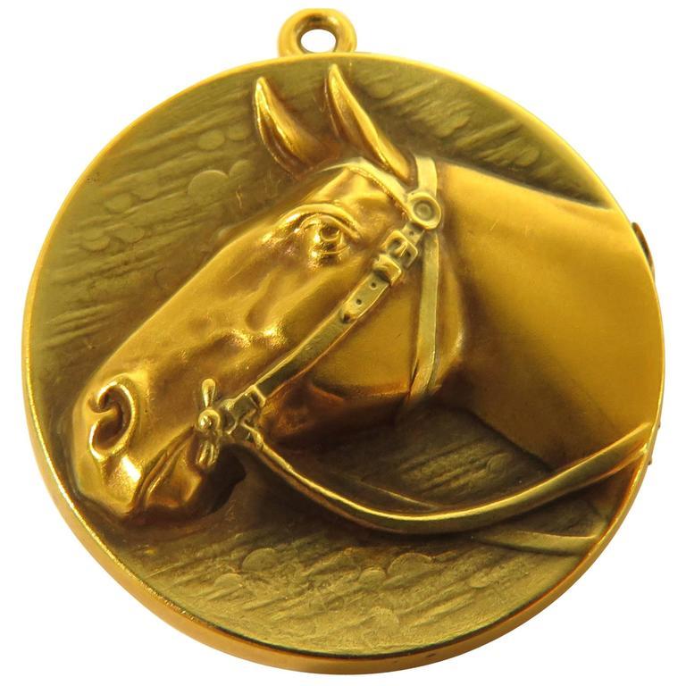 Art Deco Gold Horse Locket Charm Pendant