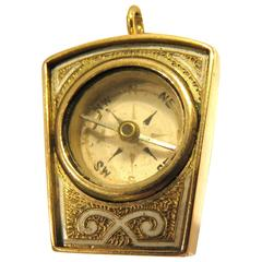 Antique Masonic Enamel Gold Compass Charm Pendant