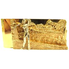 Ruser Golf Motif Two Color Gold Heavy Money Clip