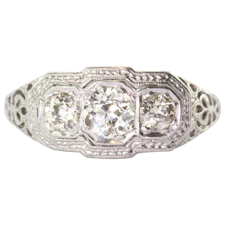 1900s Art Nouveau Diamond Gold Platinum 3 Stone Engagement Ring For