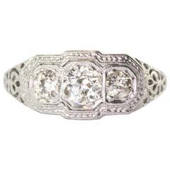 1900s Art Nouveau Diamond Gold Platinum 3 Stone Engagement Ring
