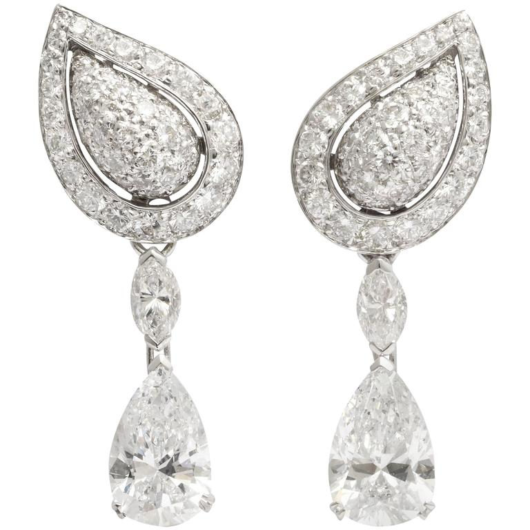 Cartier Diamond Gold Drop Earrings For