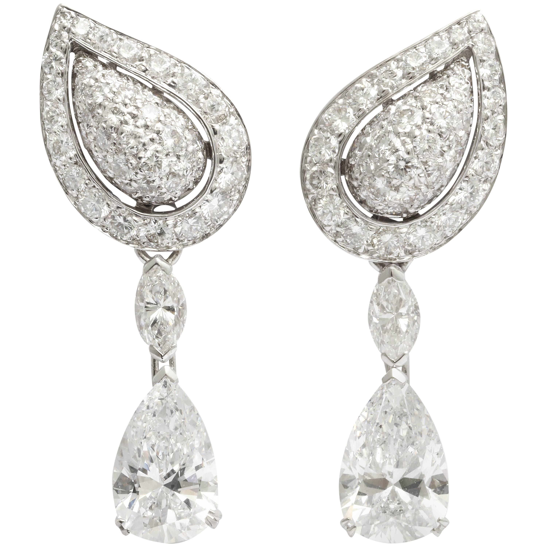 Cartier Diamond Gold Drop Earrings
