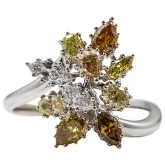 White Yellow Golden Champagne Colored Fancy Cut Diamonds Gold Ring