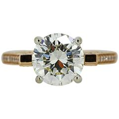 AGS Certified 3.35 Carat Round Diamond Gold Ring