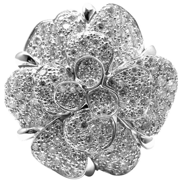 Chanel Large Camelia Flower Diamond Gold Ring