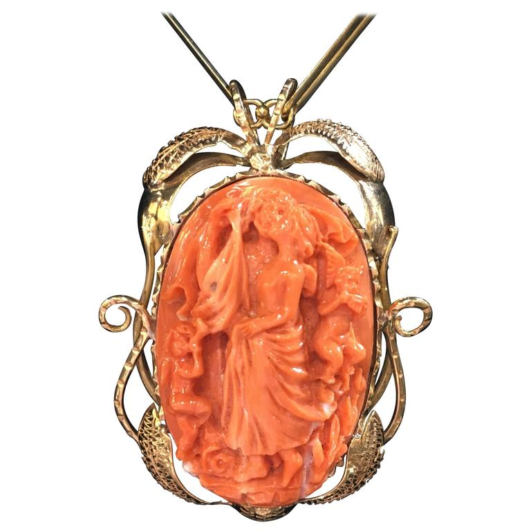 Large Carved Coral Gold Pendant