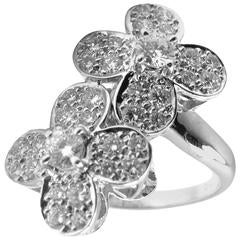 Van Cleef & Arpels Diamond Gold Double Trefle Flower Ring