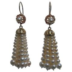 Graduated White Pearl Tassel Earrings with 14k Yellow Gold Wiring and Finishings