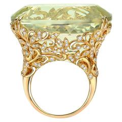 Incredible 70.99 Carat Spodumene Diamond Gold Ring