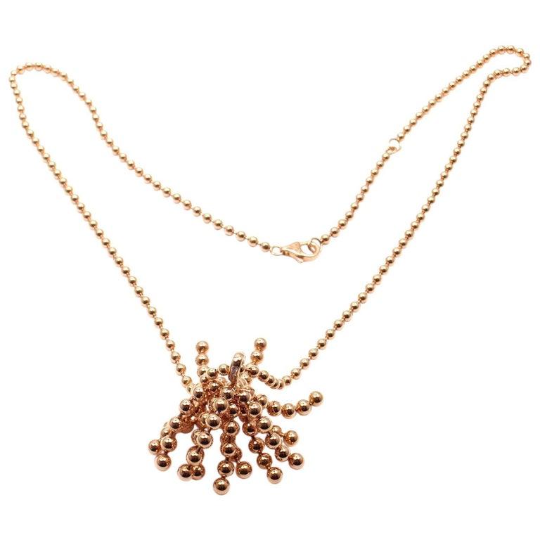 Cartier Paris Nouvelle Vague Diamond Rose Gold Pendant Necklace For Sale