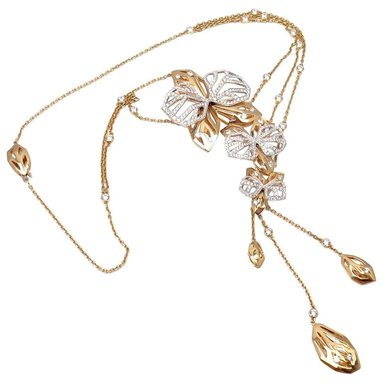 06f74b275 Cartier Caresse D'orchidees Orchid Flower Diamond Two-Color Gold Necklace  For Sale