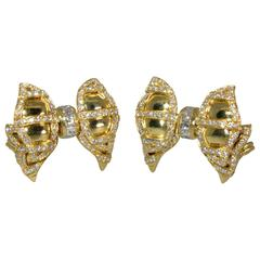 Diamond Gold Bow Motif Earrings
