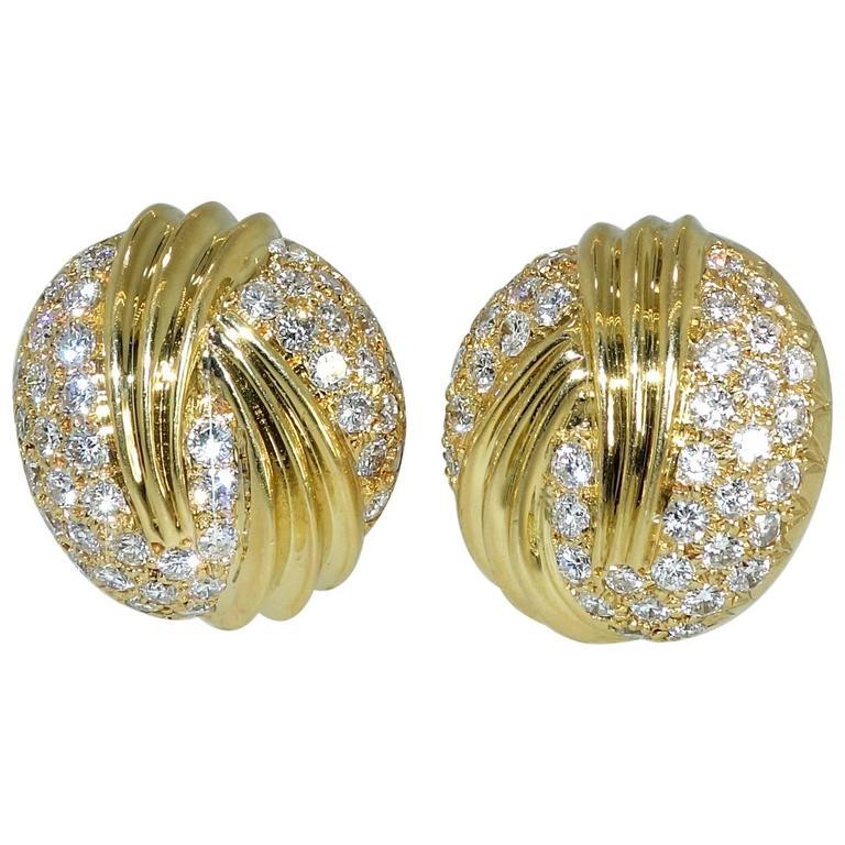 Fine Diamond Gold Earrings