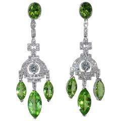 Fine Peridot Diamond Platinum Chandelier Earrings